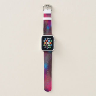 Bracelet Apple Watch Coeur rose et rouge avec le bleu