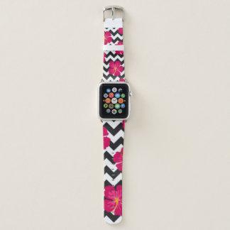 Bracelet Apple Watch Conception blanche de motif de Chevron de noir de