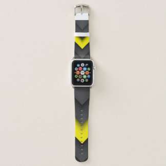 Bracelet Apple Watch Conception noire et jaune d'impression de motif de
