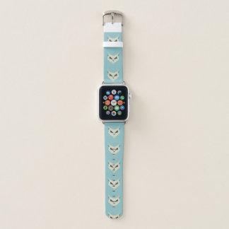 Bracelet Apple Watch Crâne mauvais de chat de tons bleus en pastel