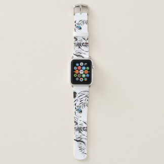 Bracelet Apple Watch Dessin blanc de tigre