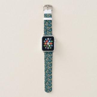 Bracelet Apple Watch Feuille et motif de fleurs pourpre Teal