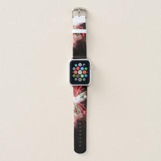 Bracelet Apple Watch Feux d'artifice rouges et verts spectaculaires en