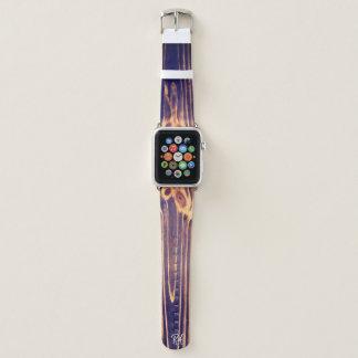 Bracelet Apple Watch Fibre de bois foncée décorée d'un monogramme avec