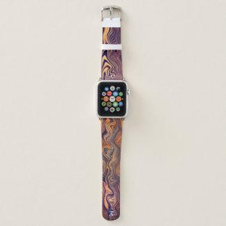 Bracelet Apple Watch Fibre de bois onduleuse décorée d'un monogramme