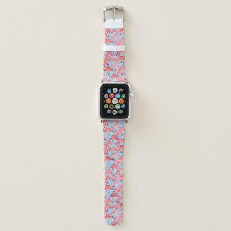 Bracelet Apple Watch Flamants roses lumineux sur le bleu