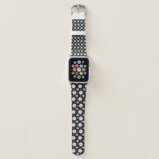 Bracelet Apple Watch Fleur noire et blanche d'amusement