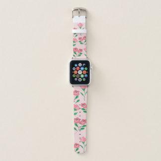 Bracelet Apple Watch fleur rosée et papillon