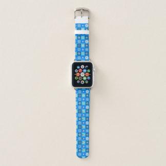 Bracelet Apple Watch Flocons de neige sur le bleu