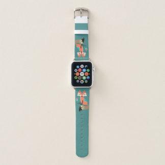 Bracelet Apple Watch Fox de tribal avec la plume sur Teal