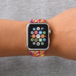 Bracelet Apple Watch Graffiti abstrait d'orange peignant une bande de