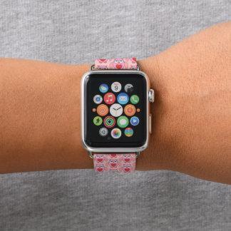 Bracelet Apple Watch Hibou rose de coeur d'amour