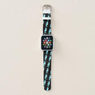 Bracelet Apple Watch Hippocampe turquoise sur le noir