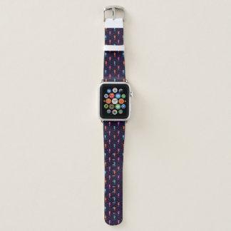 Bracelet Apple Watch Hippocampes d'aquarelle sur le motif de bleu