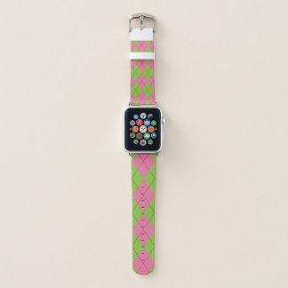 Bracelet Apple Watch Jacquard vert et rose