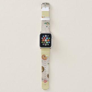 Bracelet Apple Watch La marine prise les rayures jaunes de moutarde