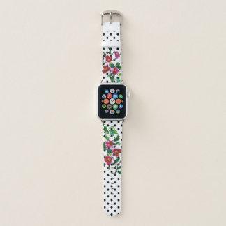 Bracelet Apple Watch Le cru s'est levé - des polkas noires et blanches