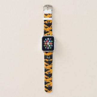 Bracelet Apple Watch Le vol frais manie la batte le monogramme orange