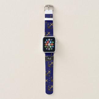 Bracelet Apple Watch L'or jaune miroite bleu marine de monogramme