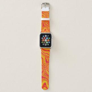 Bracelet Apple Watch Marbre liquide jaune rouge moderne abstrait