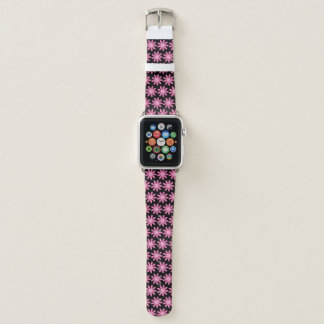 Bracelet Apple Watch Marguerites roses modernes sur le noir