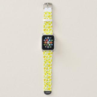 Bracelet Apple Watch Monogramme. Citrons d'été d'aquarelle