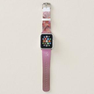 Bracelet Apple Watch Monogramme coloré d'art d'imaginaire de papillon