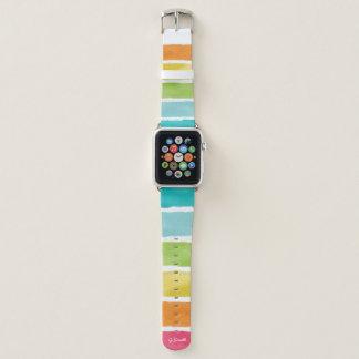 Bracelet Apple Watch Monogramme. Couleurs mignonnes d'arc-en-ciel