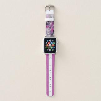 Bracelet Apple Watch Monogramme floral de gris de rose de fleur