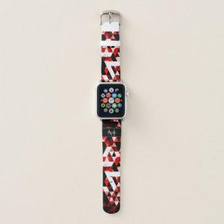 Bracelet Apple Watch Monogramme fumeux rouge géométrique de galaxie de