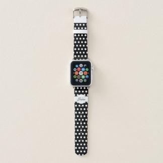 Bracelet Apple Watch Monogramme noir et blanc à la mode de motif de