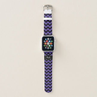 Bracelet Apple Watch Monogramme noir pourpre ultra-violet de motif de