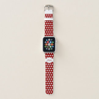 Bracelet Apple Watch Monogramme rouge foncé et blanc à la mode de pois