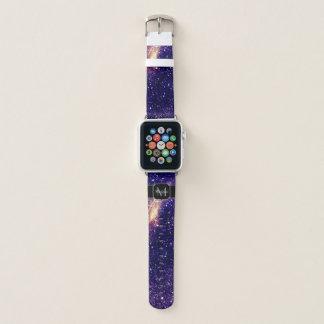 Bracelet Apple Watch Monogramme ultra-violet de galaxie d'abrégé sur