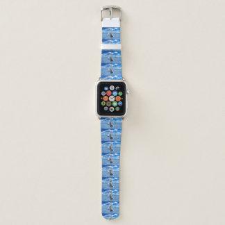 Bracelet Apple Watch Montre bleu-clair à la mode de bateau à voile des