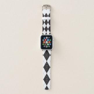 Bracelet Apple Watch Motif à motifs de losanges noir et blanc