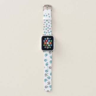Bracelet Apple Watch Motif blanc bleu de Nautilus