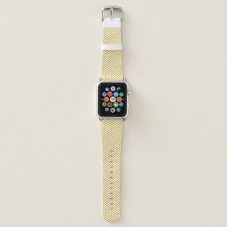 Bracelet Apple Watch Motif blanc de rayures de feuille d'or élégante de