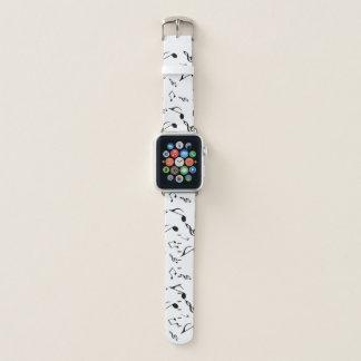 Bracelet Apple Watch Motif blanc noir de notes de musique