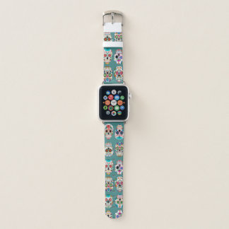 Bracelet Apple Watch Motif coloré de crânes de sucre sur Teal