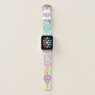 Bracelet Apple Watch Motif coloré de fête de crâne de sucre de damassé