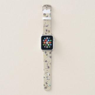Bracelet Apple Watch Motif de fleurs mignon avec l'arrière - plan beige
