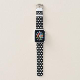 Bracelet Apple Watch Motif de pois noir et blanc à la mode
