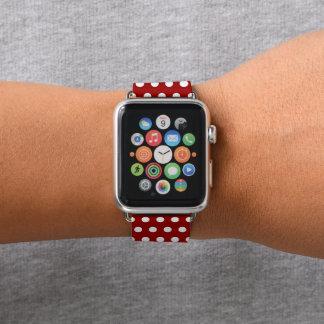 Bracelet Apple Watch Motif de pois rouge foncé et blanc à la mode