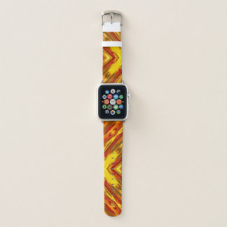Bracelet Apple Watch motif de zigzag géométrique orange rouge d'or