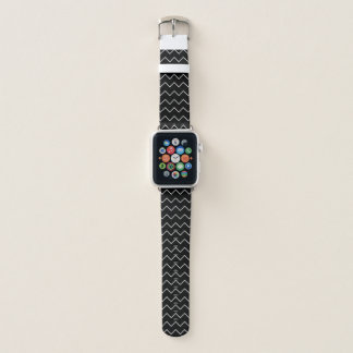 Bracelet Apple Watch Motif de zigzag noir et blanc de Chevron