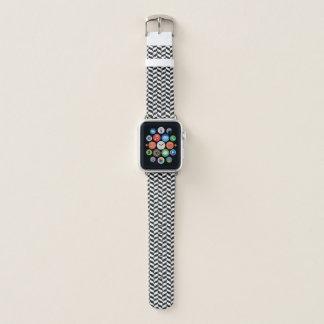 Bracelet Apple Watch Motif en arête de poisson noir et blanc