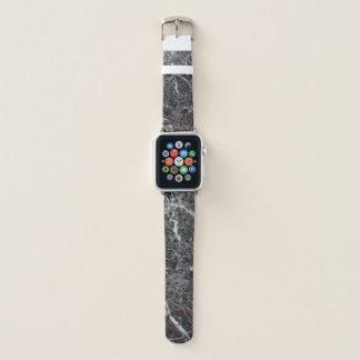 Bracelet Apple Watch Motif en pierre de marbre blanc et gris-foncé