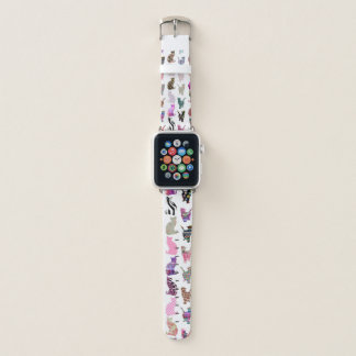 Bracelet Apple Watch Motif floral aztèque de rayures de chats