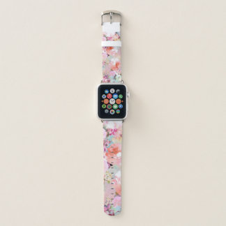Bracelet Apple Watch Motif floral chic d'aquarelle turquoise rose